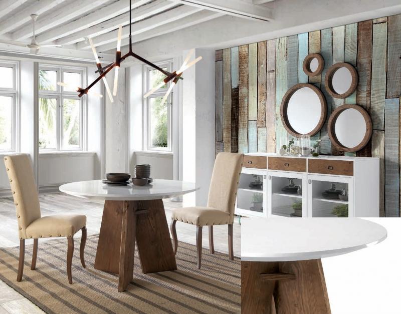 Mesa de comedor redonda 120 cm - Mesa de comedor redonda 120cm patas clásicas en madera de robre