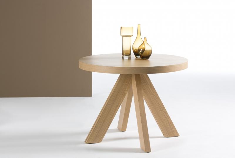 Mesa redonda extensible de diseño patas curvas - Mesa redonda extensible de diseño moderno