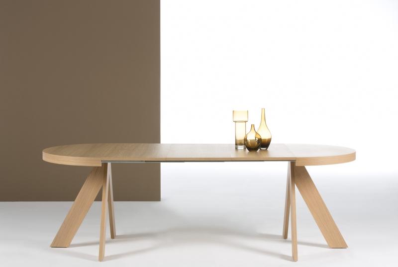 Mesa redonda patas curvas extensible dise o moderno - Patas para mesas redondas ...