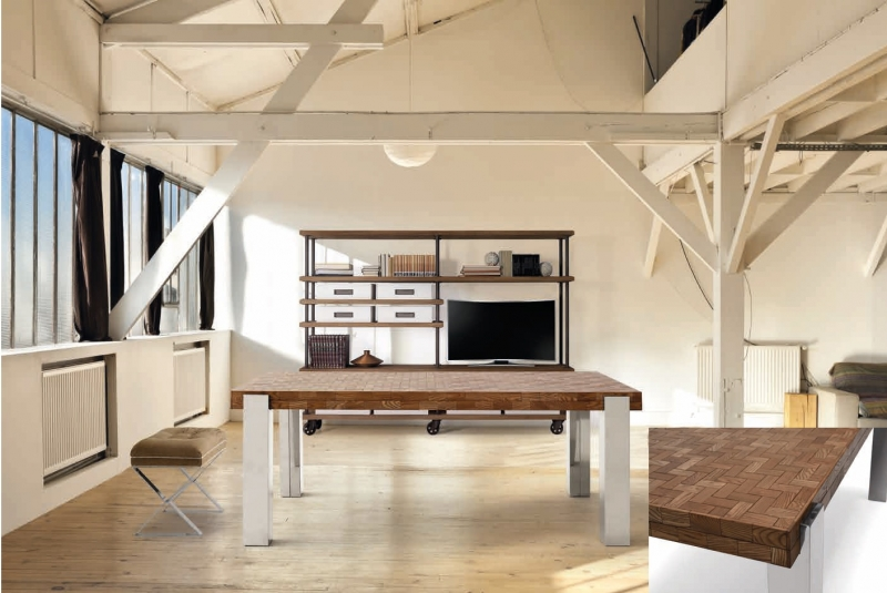 Mesa de comedor en madera de fresno - Mesa de comedor en madera de fresno reciclada en color castaño