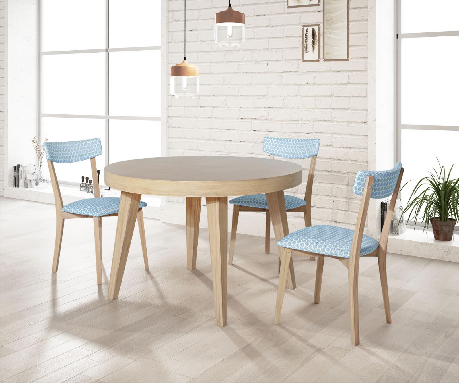 Mesa redonda extensible modelo 525 - Mesa extensible de madera, 4 patas, varios acabados