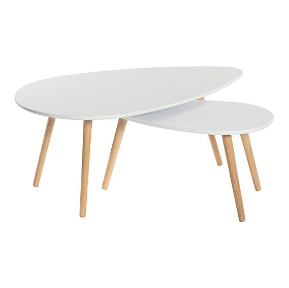 Set 2 mesas de centro blancas  - Set 2 mesas de centro blancas