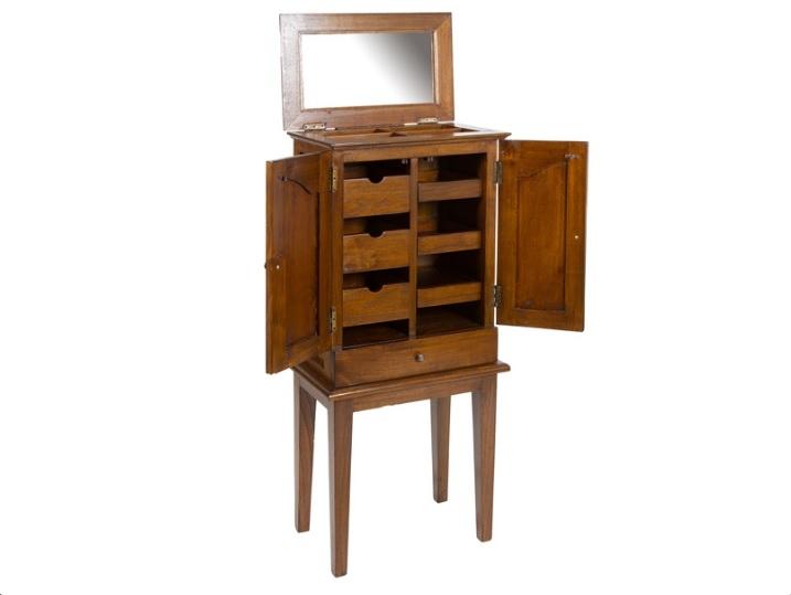 Mueble joyero Rusian en madera de mindi - Mueble joyero de pie estilo rustico colonial