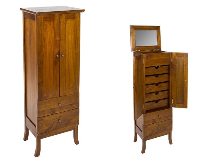 Mueble joyero colonial Mindi - Mueble joyero armario estilo rustico colonial en madera de mindi