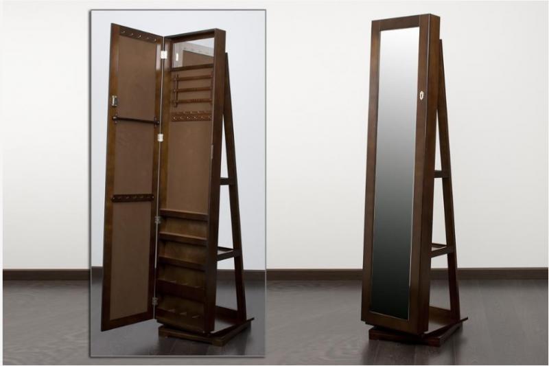 Mueble joyero con espejo en color nogal  - Mueble joyero giratorio con espejo y bandeja en color nogal