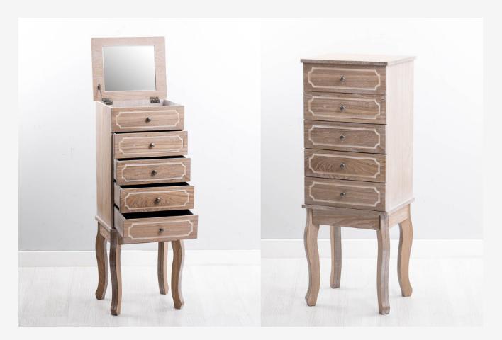 Mueble joyero madera natural  - Mueble joyero en madera natural con un toque de blanco