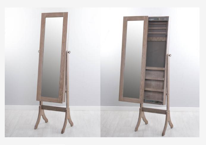 Mueble joyero con espejo en madera de Abeto - Mueble joyero en madera natural abeto con un toque de blanco lavado
