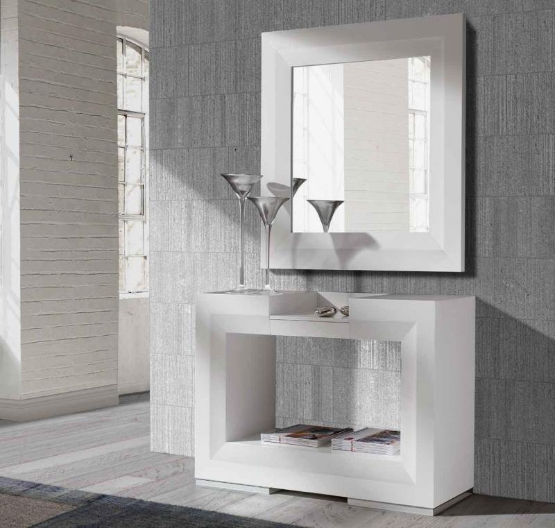 Consola o Espejo TWIN - Consola o Espejo TWIN, Moderna y elegante consola con espejo acabados en chapa de wengué, nogal o lacados en blanco o negro brillo.