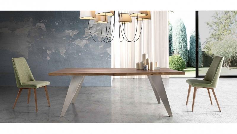 MESA NOSTOS DE NACHER - Mesa rectangular de madera maciza y patas de metal con 8 acabados diferentes. Mesa grande de 200x100cm.