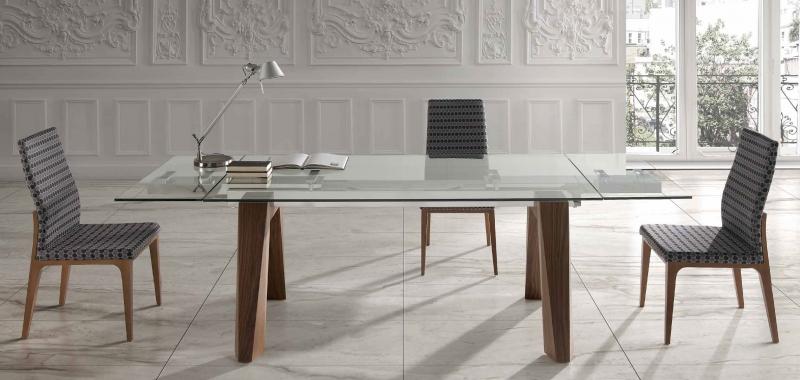 Mesa de comedor extensible OT - Mesa de comedor extensible OT, Mesa robusta con patas en madera madera maciza de haya, roble o nogal, y tapa de cristal o cerámica.