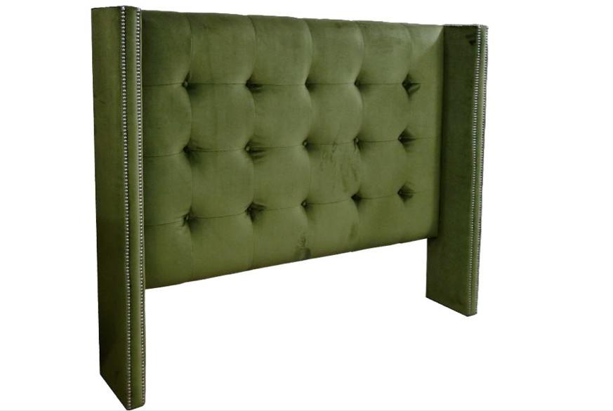 Cabecero verde con botones tapizados - Cabecero verde con botones tapizados