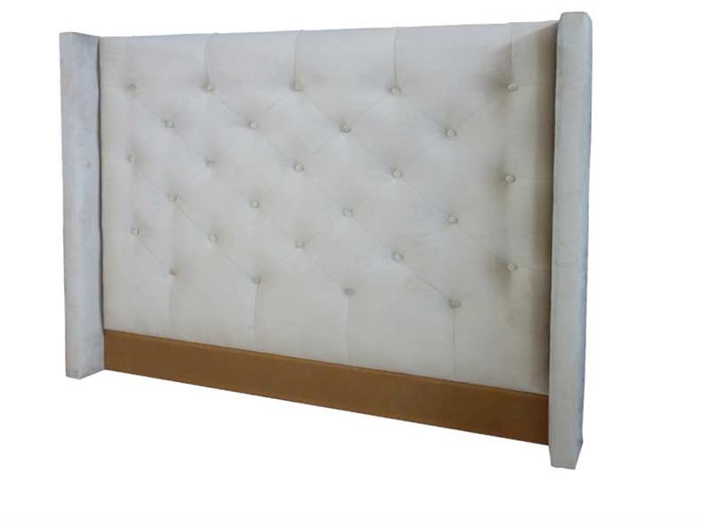 Cabecero blanco con botones tapizados  - Cabecero blanco con botones tapizados