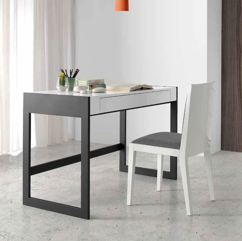 ESCRITORIO PALERMO - ESCRITORIO PALERMO, Mesa de escritorio fija con sobre de MDF lacado en blanco y cajón integrado.