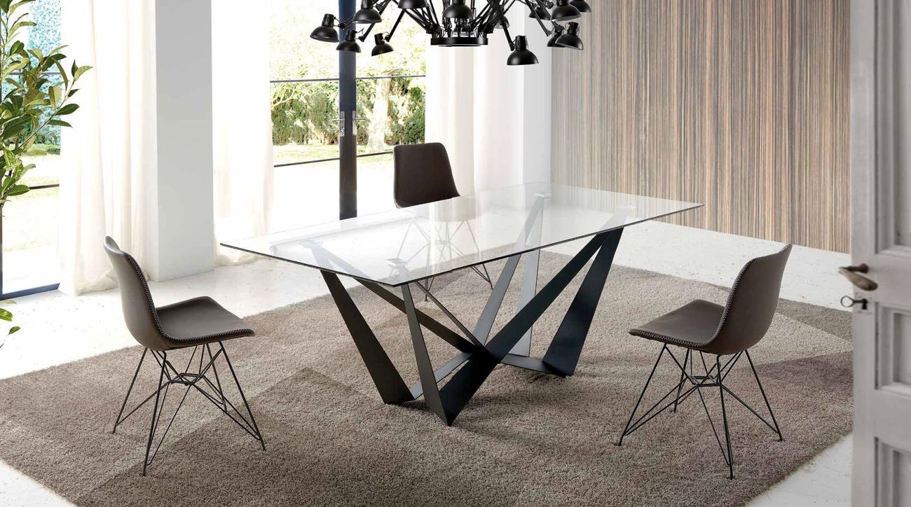 MESA DE COMEDOR MODELO CALAIS - MESA DE COMEDOR MODELO CALAIS, Mesa de comedor en formato fijo rectangular con sobre de vidrio templado de 12 mm de grosor.