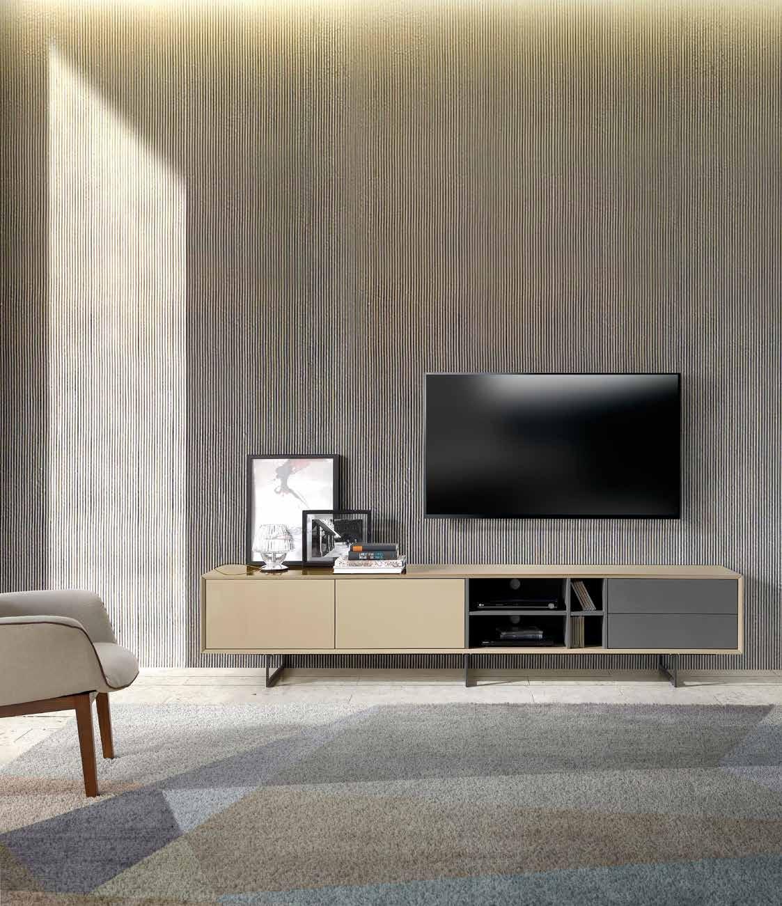 MESA DE TV DANUBIO - MESA DE TV DANUBIO, Aparador de tres puertas y compartimento de dos gabetas, acabado en MDF lacado en dos colores: gris y moka alto brillo.