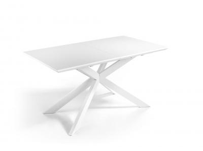 MESA EXTENSIBLE MODELO VERONA - Mesa de comedor extensible con encimera de MDF blanco mate y patas de diseño en blanco mate.