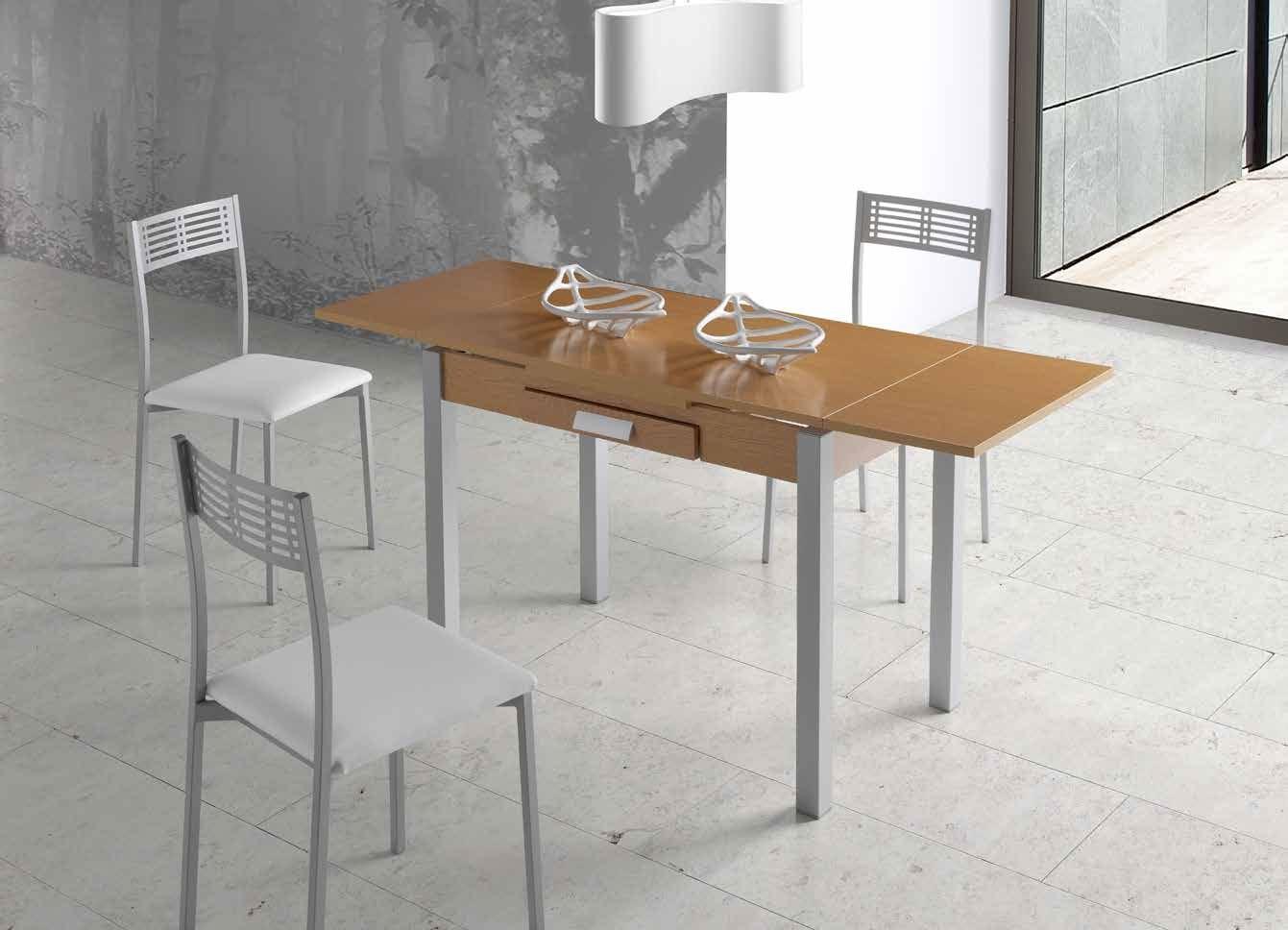 MESA DE COCINA EXTENSIBLE MAIA - Mesa de cocina con apertura tipo libro en madera MDF laminada en blanco.