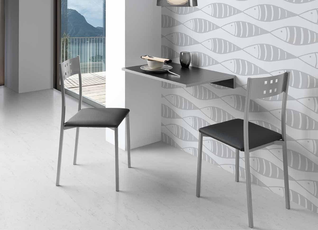 Mesa de cocina abatible PRADES - Mesa de cocina abatible ideal para espacios reducidos. Sobre en madera MDF laminada y sistema metálico en gris plata.