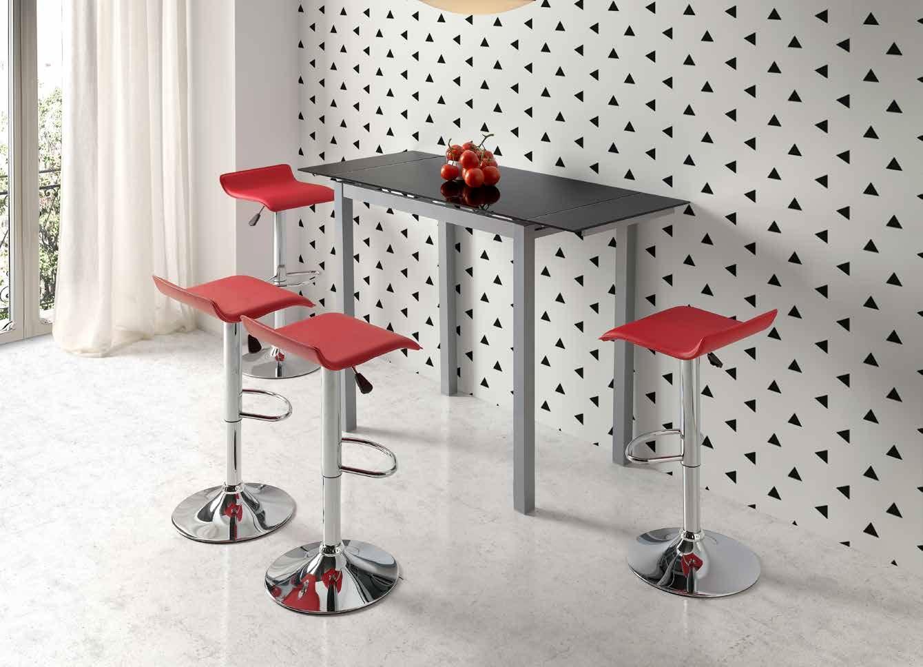 MESA DE COCINA EXTENSIBLE SINTRA - Mesa de cocina extensible. Estructura y pies metálicos acabados en gris plata con sobre y dos alas laterales en vidrio de 8 mm.