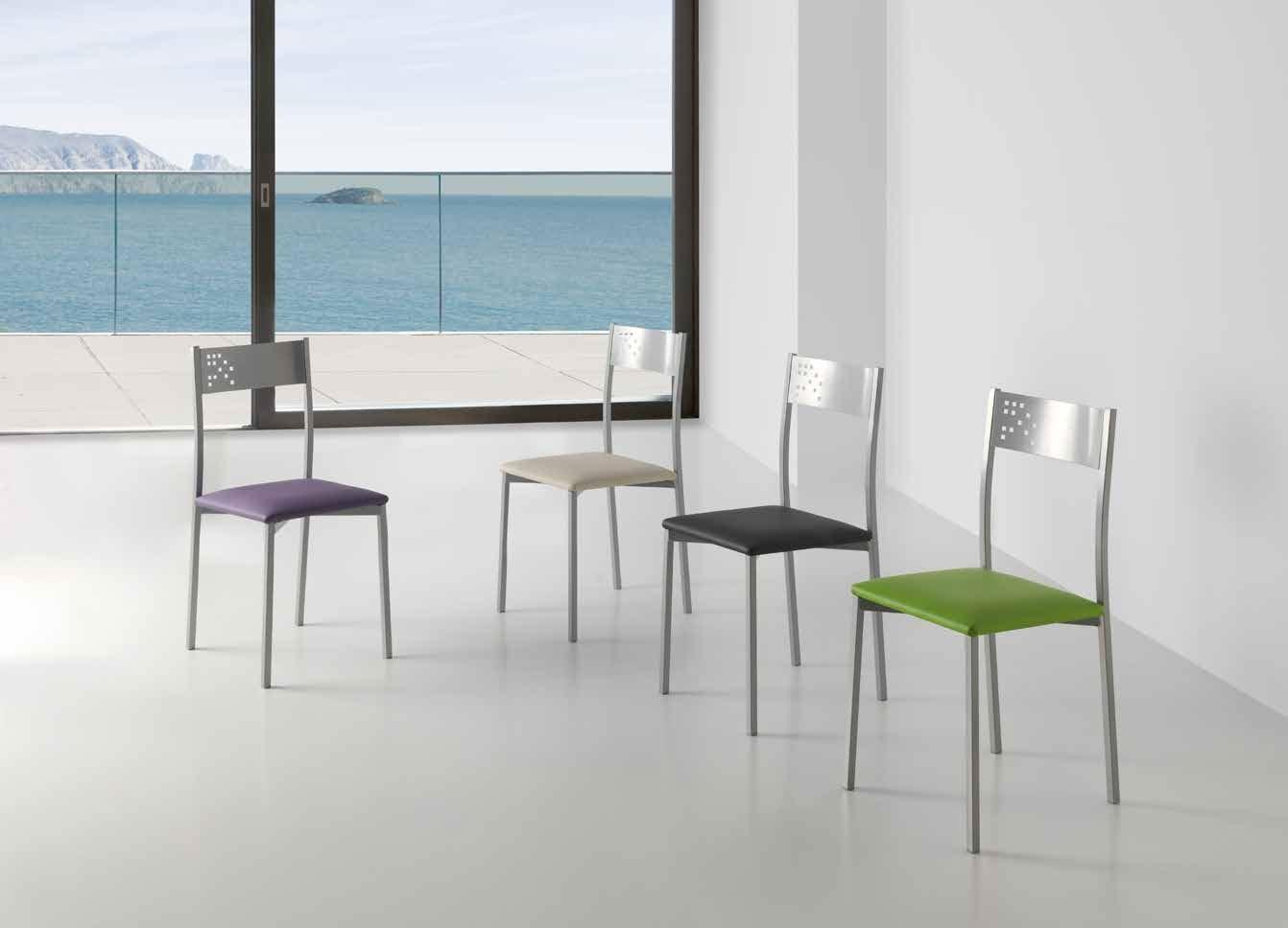 SILLA MADEIRA - Silla fija en gris plata y asiento acolchado en polipiel efecto suave