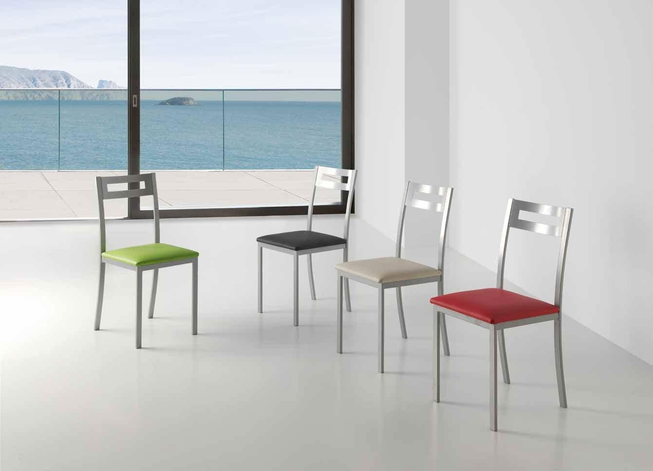 SILLA OPORTO - Silla fija en gris plata y asiento acolchado en polipiel efecto suave
