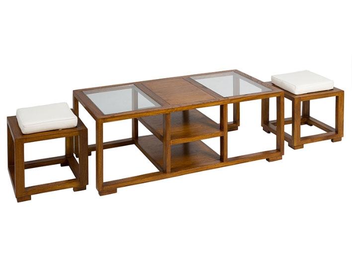 Mesa centro + 2 taburetes - Mesa centro + 2 taburetes, madera de mindi playwood