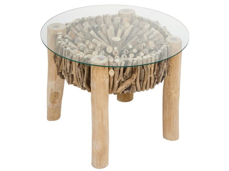 Mesa auxiliar redonda - Mesa auxiliar redonda,  fabricado en madera de mindi