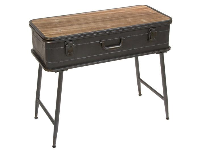 Consola maleta industrial - Consola maleta industrial, fabricado en metal y madera envejecida
