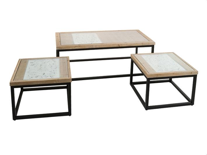 Juego de 3 Mesas centro Fez - Juego de 3 Mesas centro Fez, madera de abeto base de vidrio