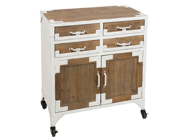 Aparador vintage blanca 4c/2p  - Aparador vintage blanca 4c/2p ,  madera de abeto, hierro pintado, estilo vintage