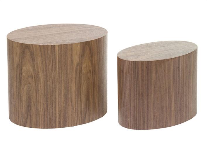 Juego de 2 mesas oval nogal - Juego de 2 mesas oval nogal