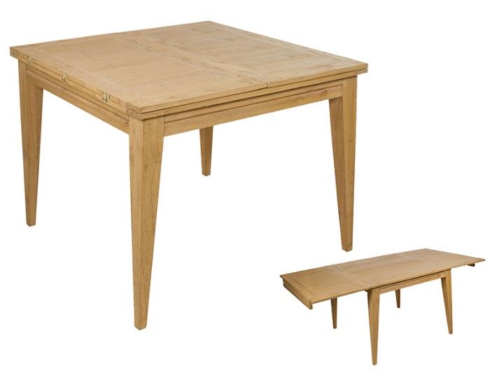 Mesa extensible Miami roble 100 - Mesa extensible Miami roble 100, madera de mindi estilo colonial