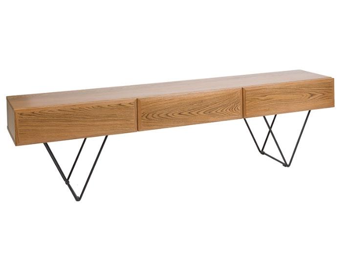 Mesa de televisión Escala - Mesa de televisión Escala, madera de nogal +mdf patashierro forjado estilo vintage