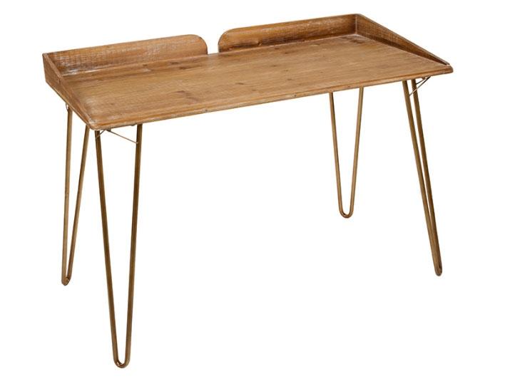 Escritorio retro 02 - Escritorio retro 02, madera de abeto, patas de hierro, estilo industrial