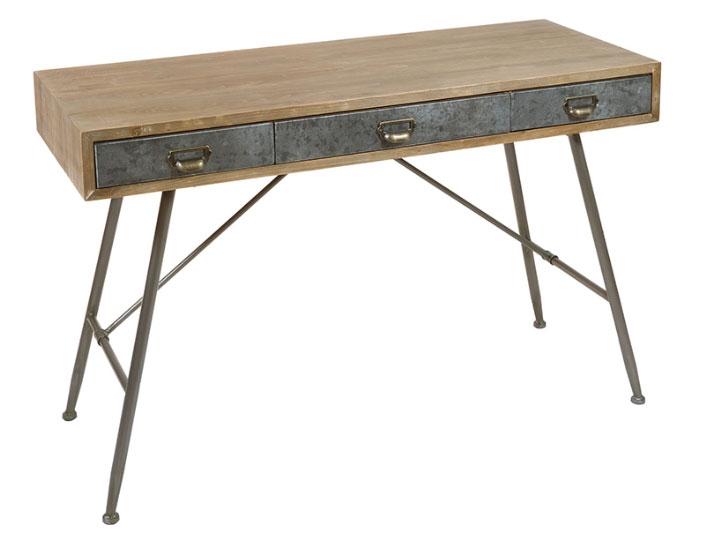 Escritorio retro 03 - Escritorio retro 03, madera de abeto, patas de hierro, estilo industrial