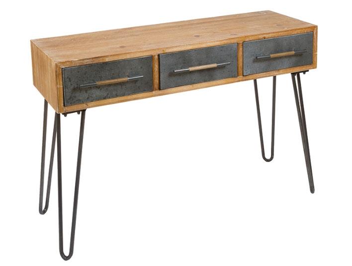 Escritorio retro 04 - Escritorio retro 04, madera de abeto, patas de hierro, estilo industrial