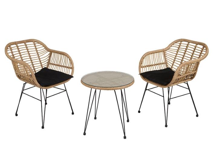 Set 3 piezas jardín - Set 3 piezas jardín, Estructura de aluminio, ratán sintético, mesa con cristal