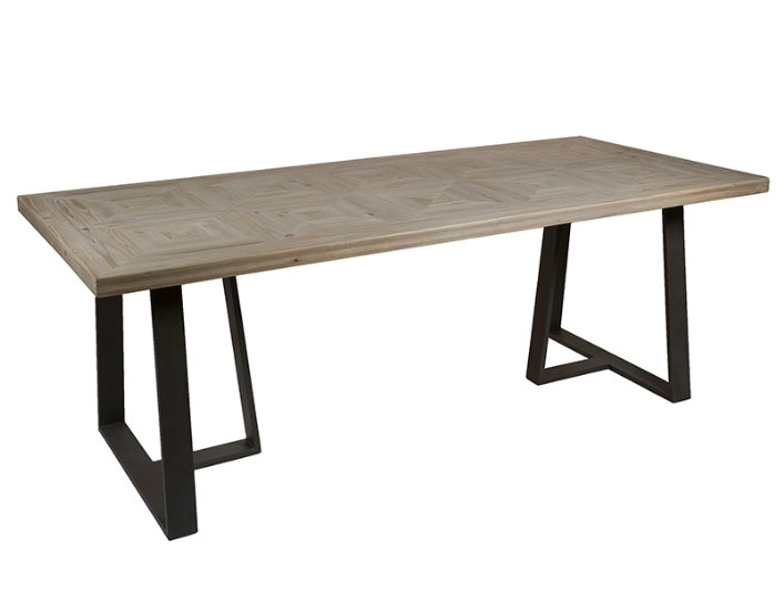 Mesa comedor Garbí - Mesa comedor Garbí, madera de abeto, patas de hierro estilo industrial