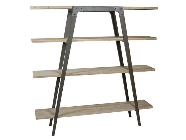 Estantería Garbí - Estantería Garbí, madera de abeto, patas de hierro estilo industrial