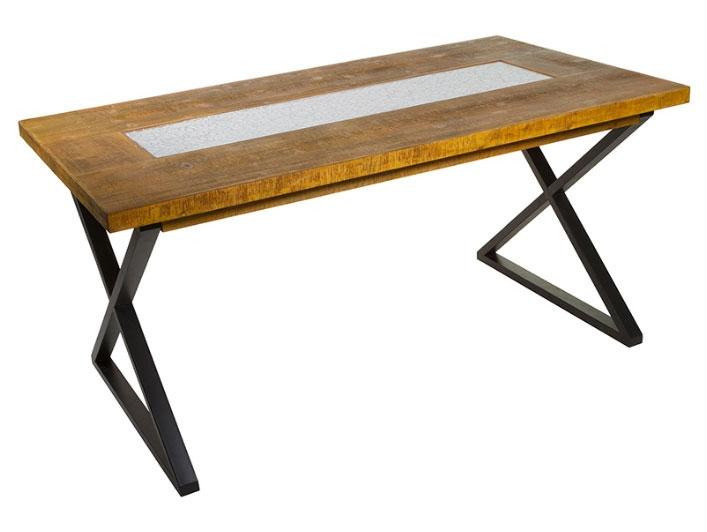 Mesa comedor Nara - Mesa comedor Nara, madera abeto + mdf, patas de hierro estilo shabby chic