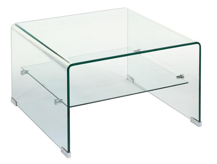 Mesa centro cristal cuadrada 60 - Mesa centro cristal cuadrada 60, vidrio curvado 10 mm
