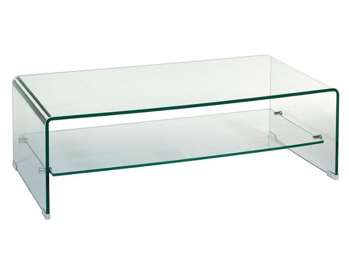 Mesa centro cristal rectangula - Mesa centro cristal rectangula, vidrio curvado 12 mm