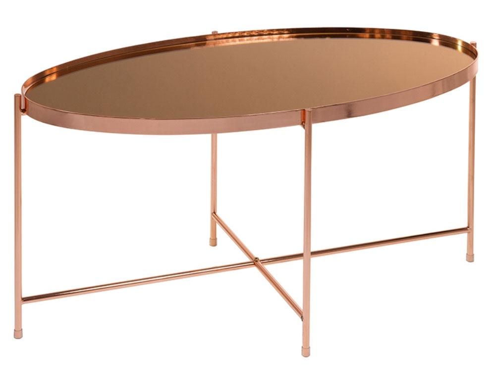 Mesa centro oval cobre - Mesa centro oval cobre