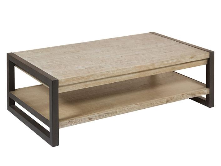Mesa centro Tundra - Mesa centro Tundra, madera de acacia, patas de hierro, estilo industrial