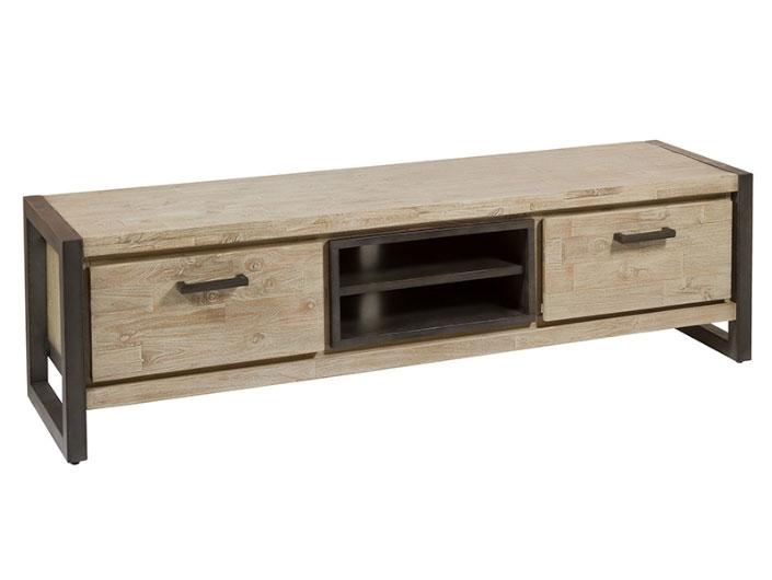 Mesa tv cajones Tundra - Mesa tv cajones Tundra, madera de acacia, patas de hierro, estilo industrial