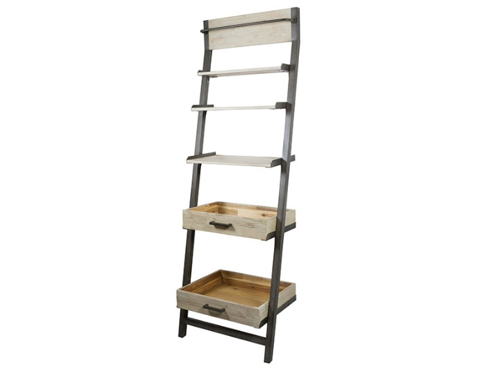Estantería escalera Tundra - Estantería escalera Tundra, madera de acacia, patas de hierro, estilo industrial