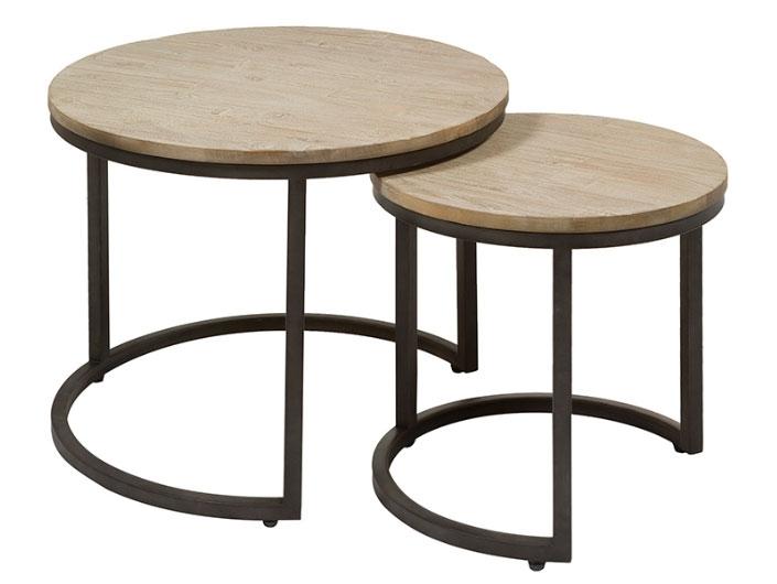 Juego 2 mesitas Tundra - Juego 2 mesitas Tundra, madera de acacia, patas de hierro, estilo industrial