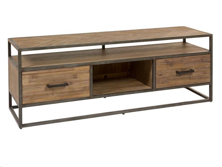 Mesa tv cajones Parquet - Mesa tv cajones Parquet, madera de acacia, patas de hierro
