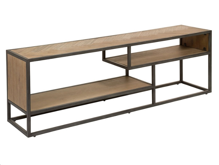 Mesa tv Parquet - Mesa tv Parquet, madera de acacia, patas de hierro