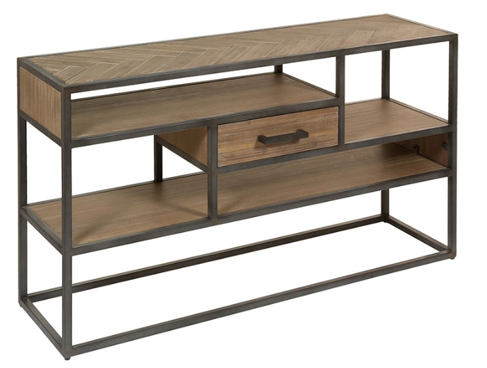Consola Parquet - Consola Parquet, madera de acacia, patas de hierro
